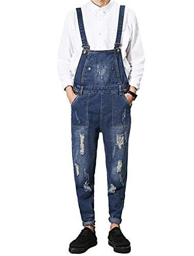 Fit Skinny A Uomo Di Salopette Gamba Tuta Foro Jeans Tasche Stretta Scuro Ragazzo Blu Da Con EqTRRwxt
