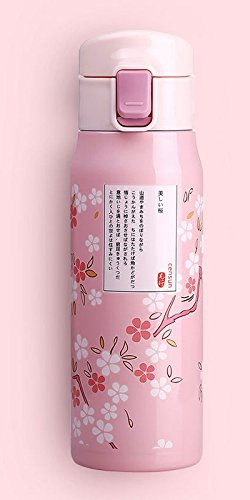 Pink Halloween Sakura Cherry Blossoms Travel Mug Stainless Steel Bottle by Travel Mugs