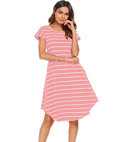 Halife Women's Summer Casual Stripe Elastic Waist Loose Beach Midi Dress (XL, Pink)