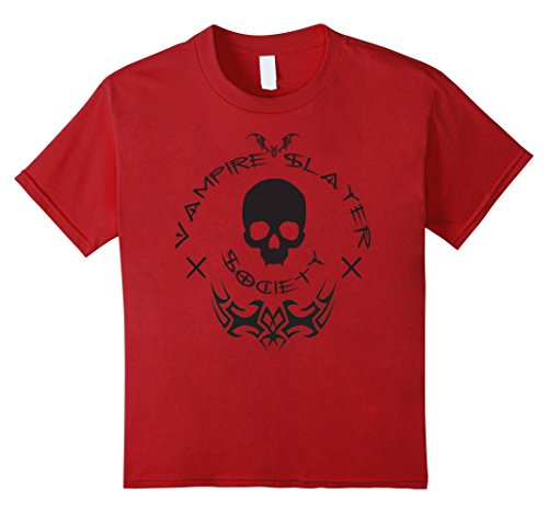 Vampire Slayer Halloween Costumes (Kids Vampire Slayer Society - Halloween Vamp Hunter T Shirt 12 Cranberry)