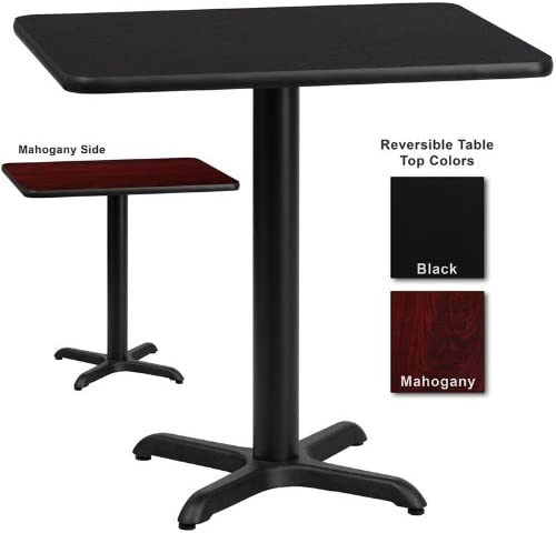 Flash Furniture 24 Inch X 30 Inch Rectangular Dining Table W Black Or Mahogany Reversible Laminate Top