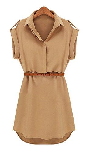 CRAVOG Damen Tuniken Mode Stretch Chiffon-beiläufige Shirt Bluse Minikleid mit Gürtel