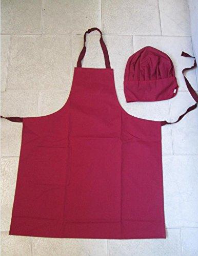 Grembiule Uomo cm 75x90 + Cappello Cuoco Kit Barbecue 2 pezzi Bordeaux a112098a2bd8