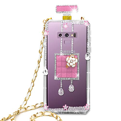 (Omio for Samsung Galaxy Note 9 Diamond Case Luxury Bling Crystal Rhinestone Shell for Galaxy Note 9 Glitter Cover Shiny Perfume Bottle with Chain String Shockproof Anti-Scratch Case for Galaxy Note 9)