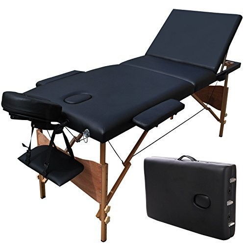 """ShoPpERcHoiCE 84""""L 3 Section Portable Massage Table Facial SPA Bed Tattoo w/Carry Case Black by N/A"""