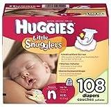 Huggies Little Snugglers Diapers, Newborn (Up to 10 lbs.), 108 ct by Huggies