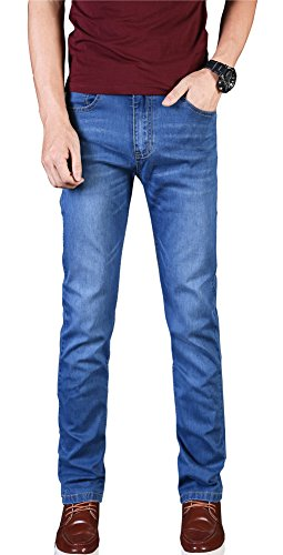 Plaid&Plain Men's Slim Tapered Jeans Stretch Skinny Jeans Lightweight Jeans LightBlue 34 (Lightweight Mens Jeans)