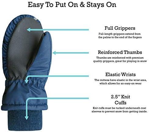 NIce Caps Kids Thinsulate Waterproof Reflector Winter Snow Ski Mittens Fuchsia//Reflector Hearts 2, 2-3 Years
