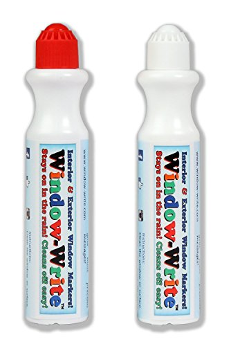 FANTASTIC Window-Write CHALK MARKERS Write & draw on your Car Glass and Home Windows! Set of 2 glass markers 1 Red +1 FREE White. Rainproof, easy-to-clean, -