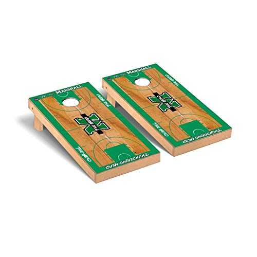 Victory Tailgate Regulation Collegiate NCAA Basketball Court Series Cornhole Board Set - 2 Boards, 8 Bags - Marshall Thundering Herd