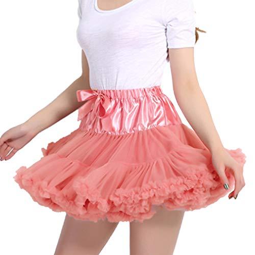 Sottogonne Corallo Donna Di Rosso 1950s Vintage Minigonne Balletto Principessa Danza Carnevale Tulle Tutu Costumi Rockabilly Adulto qE1ZErw