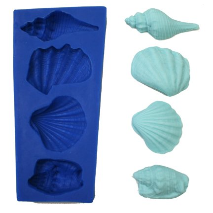 4 LARGE SEASHELL SILICONE MOLD FOR FONDANT, GUM PASTE, CHOCOLATE, HARD CANDY, FIMO, CLAY, SOAPS