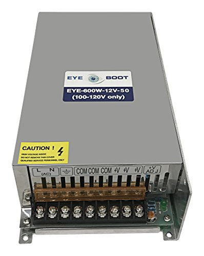 Eyeboot 12V 50A DC Universal Regulated Switching Power Supply 600w for CCTV, Radio, LED, Computer Project