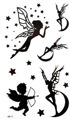 Fashionable Temporary Tattoos for Women and Youth Waterproof Body Stickers Cupid Stars Fairy Angels Tattoo Stickers - Angel Tattoos Women