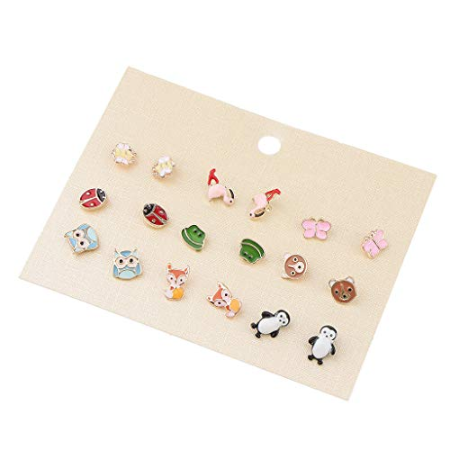 9 Pair Enamel Cartoon Animal Frog Owl Ladybug Flamingo Xmas Ear Stud Jewelry