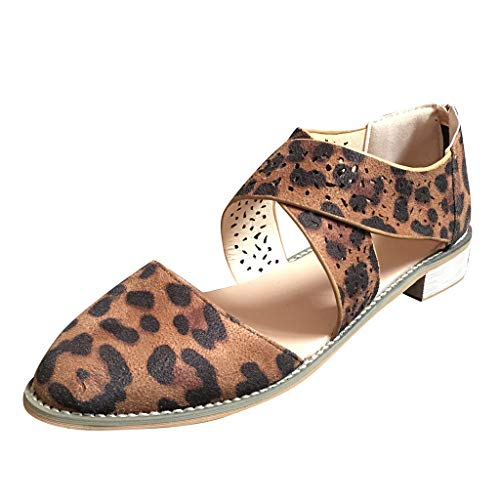 Copercn Women's Ladie Faux Chamois Leopard Grain Close Toe Hollow Out Hole Ankle Cross Band Back Zipper Puppy Heel Flat Sandals Summer Simple Casual Daily Outing Refreshing ()