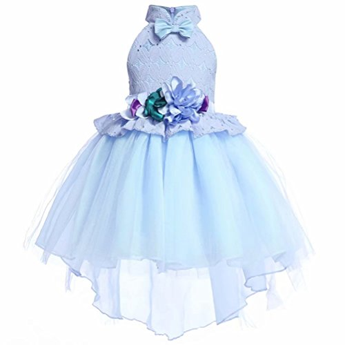 Girls Floral Tuxedo Dress Lace Party Wedding Costumes Ball Gown Sky Blue -