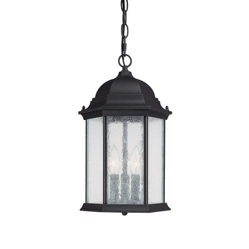 Capital Lighting 9836BK Hanging Lantern with Seeded Glass Shades, Black Finish - Capital Lighting Traditional Lantern