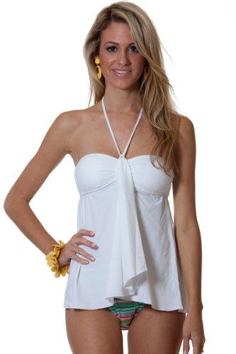f3e3cd95e1305 Blue Sky Swimwear Women s White Drape Front Tankini Swimsuit Top