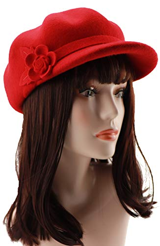 Loufmive Womens 100% Wool Newsboy Hat Visor Beret Cap Solid Color Octagonal Hat Felt Flower Cloche Hat for Winter(red)