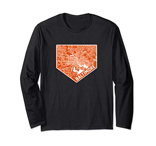 Baltimore Map on Baseball Home Plate | Maryland is Home Long Sleeve T-Shirt]()