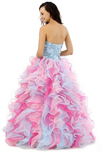 Quinceanera Blau Pink Sweetheart Kleid engerla Stickerei Damen Cascade Pailletten Organza Ballkleid CvSCfFwx0q