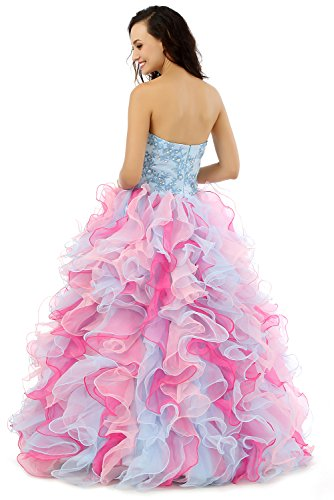 Quinceanera Pailletten Kleid Damen Stickerei Blau Sweetheart engerla Cascade Organza Ballkleid Pink 0qPOnTw