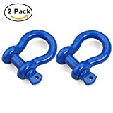 """Image of Shackles 3/4"""" (2 PACK) RETECK D ring Shackle Rugged 4.75 Ton (9,500 Lbs) Capacity with 7/8'' Pin Bow Screw Heavy Duty D Ring for Jeep Vehicle Recovery, Blue"""