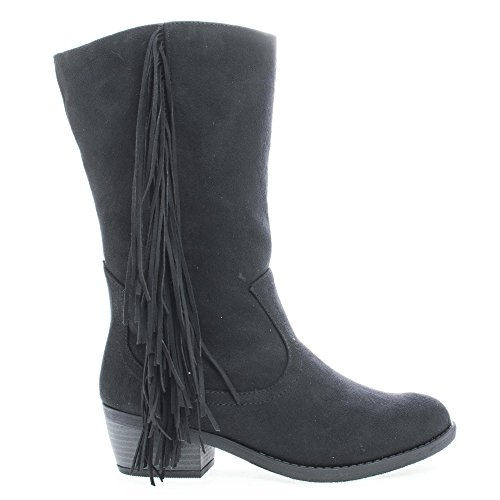 elvo-black-cowgirl-fringe-mid-calf-block-heel-womens-boots-9