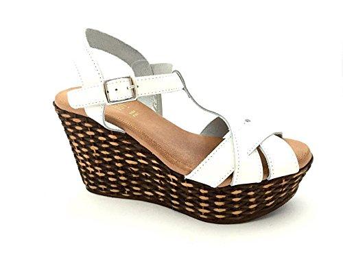 Sandali Keys per donna in pelle bianca zeppa alta (Taglia 38)