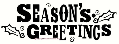 Wall Decor Plus More WDPM2313 Season's Greetings Wall or Door Sticker with Holly Leaf Vinyl Decal, 23W x 8H, Black, (Seasons Greetings Holly)