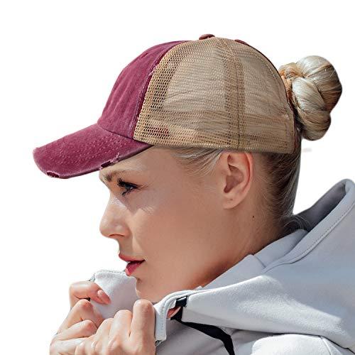 HH HOFNEN Women Ponytail Hat Washed Twill Cotton Baseball Cap Vintage Adjustable Dad Hat (#05 Burgundy (Mesh Ponytail)) Cotton Twill Mesh Cap