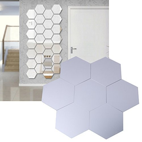 Whitelotous 7PCS Honeycomb Hexagon DIY Removable Home Room Wall Mirror Sticker Art Vinyl Mural Decor Decal(63mm) (Silvery) ()