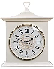 Beesealy Mantel Clock, Retro Mantel Clock, Silent Decoration Imitation Solid Wood Clock, Suitable for Living Room, Fireplace, Office, Kitchen