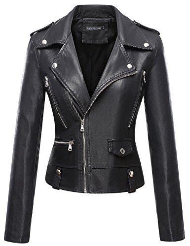 (Tanming Women's Faux Leather Moto Biker Short Coat Jacket (Small, Black17) )