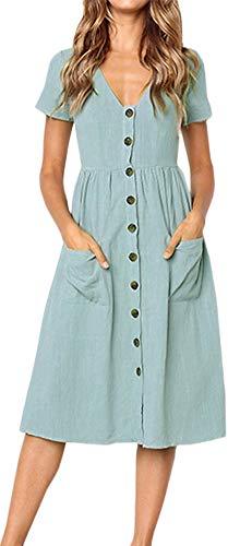 LunaJany Women's High Waist Front Pocket Button Down Pleated Dress