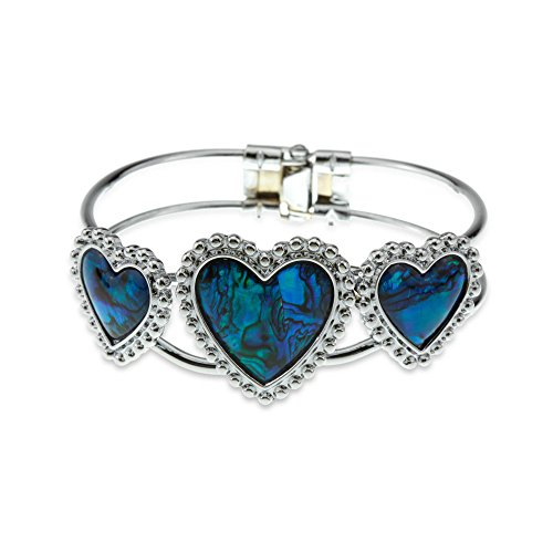Best Gift for a girlfriend - Silver and Blue Green Abalone Paua Shell Heart Crystal Bangle Cuff (Abalone Green Bracelet)
