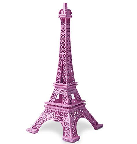 JoyFamily Eiffel Tower Decor, 7Inch (18cm) Metal Paris Eiffel Tower Statue Figurine Replica Drawing Room Table Decor Jewelry Stand Holder for Cake Topper, Gifts, Party and Home Decoration (Room Parisian Decor)