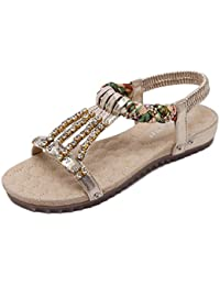 b399e17de7ecb Women Summer Bohemia Beaded Diamonds Inlaid Flowers Sandals Round Head Flats  Flip Flop Shoes Girls Sandwich