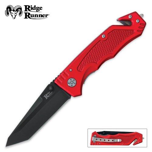 Ridge Runner Red Rescue Tac Folding Knife, Outdoor Stuffs