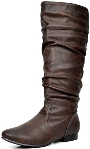 DREAM PAIRS Women\'s Blvd Brown Knee High Pull On