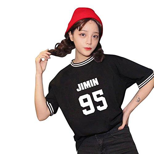 JHion Kpop BTS Concert Mood Love Story T-Shirt  Manches Courtes Filles JIMIN NOIR