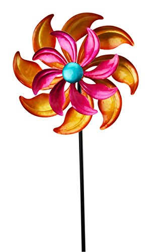 Red Carpet Studios 32608 Wind Spinner and Stake Orange and Pink Flower