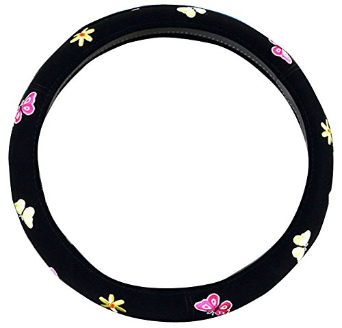 (Mayco Bell 2016 Automotive Women Embroidery Cute Car Steering Wheel Cover (Butterfly))