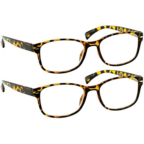 Reading Glasses 2 Pack Tortoise Always Have a Timeless Look, Crystal Clear Vision, Comfort Fit with Sure-Flex Spring Hinge Arms & Dura-Tight Screws 100% Guarantee +3.00
