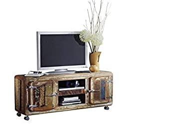 Meuble Tv Avec Roulettes Bois Massif Recycle Laque