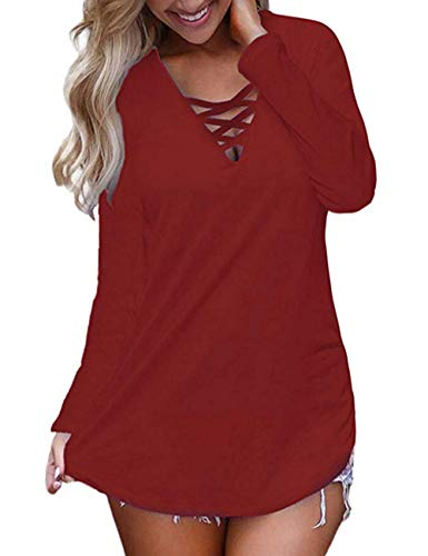 Juniors Long Top Sleeve (Halife Womens T Shirts Loose Fit Long Sleeve Tops V Neck Lace up Blouse Wine Red,M)