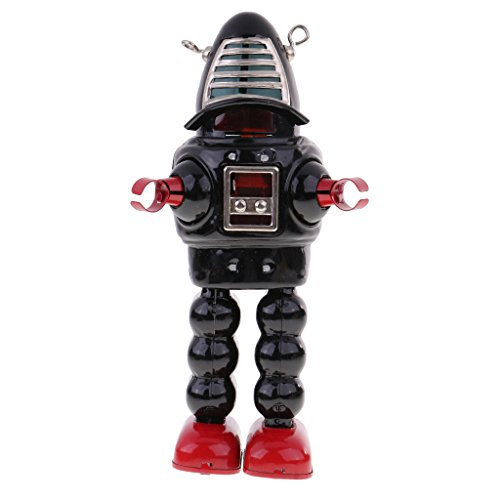 (MonkeyJack VINTAGE RETRO BLACK ROBOT TIN TOY CLOCKWORK WIND-UP ROBOT SPARKS IN HELMET)