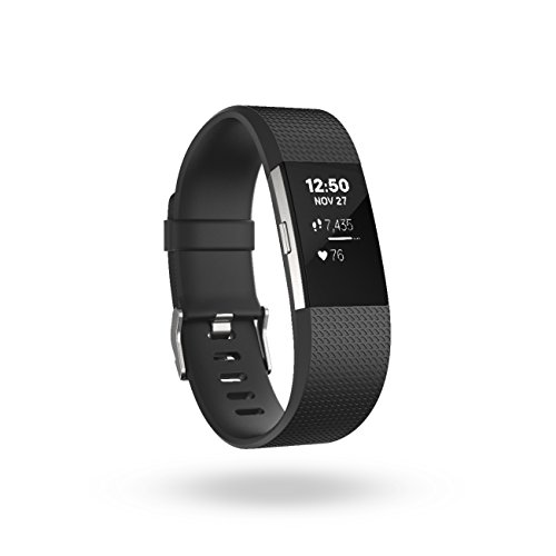 Fitbit Charge 2 Heart Rate + Fitness Wristband, Black, Large