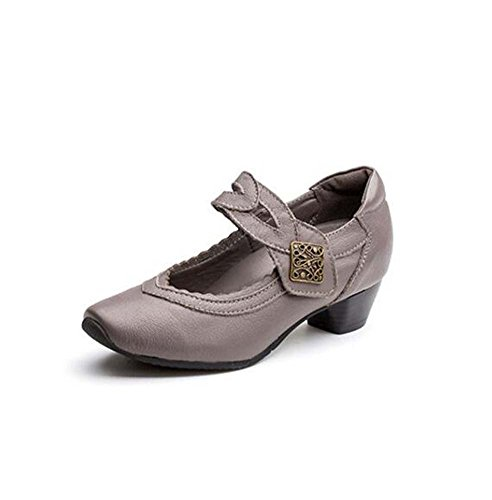 Women Pump 3.5cm Chunkly Heel Square Toe Mary Jane Casual Shoes Comforty Pure Color Velcro Court Shoes Mother Shoes Eu Size 35-40 ( Color : Gray , Size : 37 (D&g Velcro Shoes)